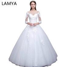 Foto Lamya Real Gaun Perkahwinan Elegant Elegant Dengan Lengan Panjang Lengan Tinggi Tinggi Gaun Ball Gowns Pengantin Vestidos De Noiva