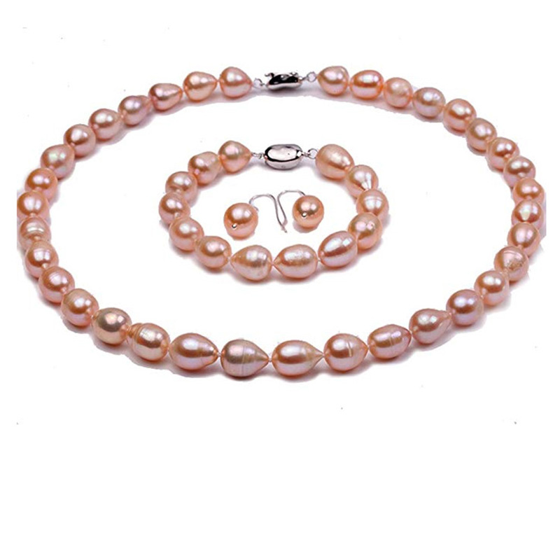 JYX Jewelry Set Natural Oval 9-10mm Pink Freshwater Pearl Necklace Bracelet and Earrings Set цена 2017