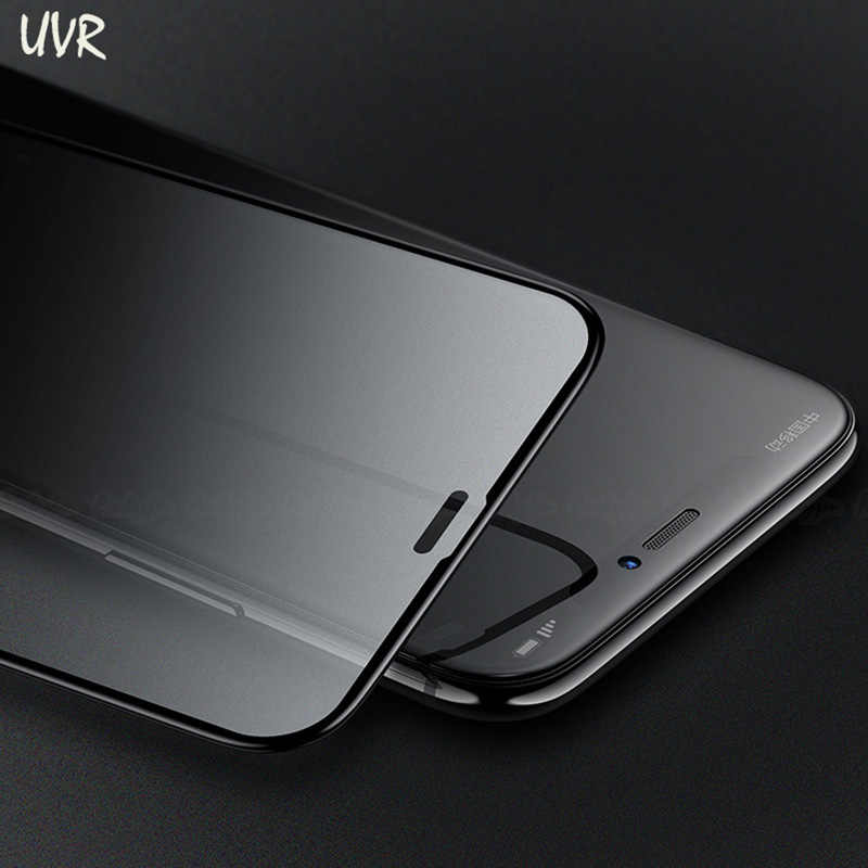 free shipping 38bd5 352d6 UVR For iPhone XR XS Max Matte Frosted Glass For Apple iPhone X XR XS XSMax  Black White Edge Tempered Glass Screen Protector