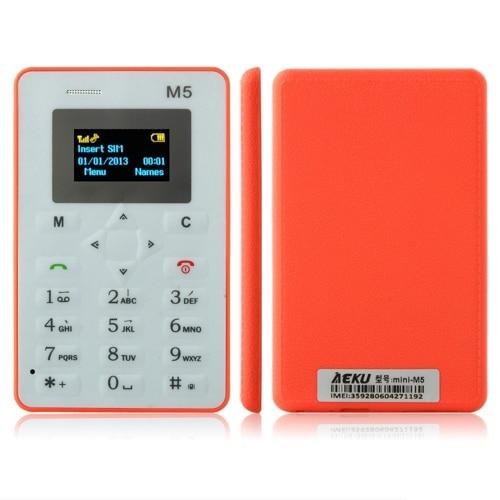 Original AEKU M5 Mini Emergency Card Phone Phone With Backup Wallet Phone 4 5mm Ultrathin Low