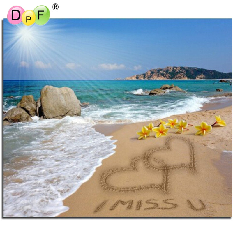 Scenery 3D DIY Diamond Embroidery Painting Love sea Cross Stitch square Full Mosaic pattern dill Crafts Home Decor picture