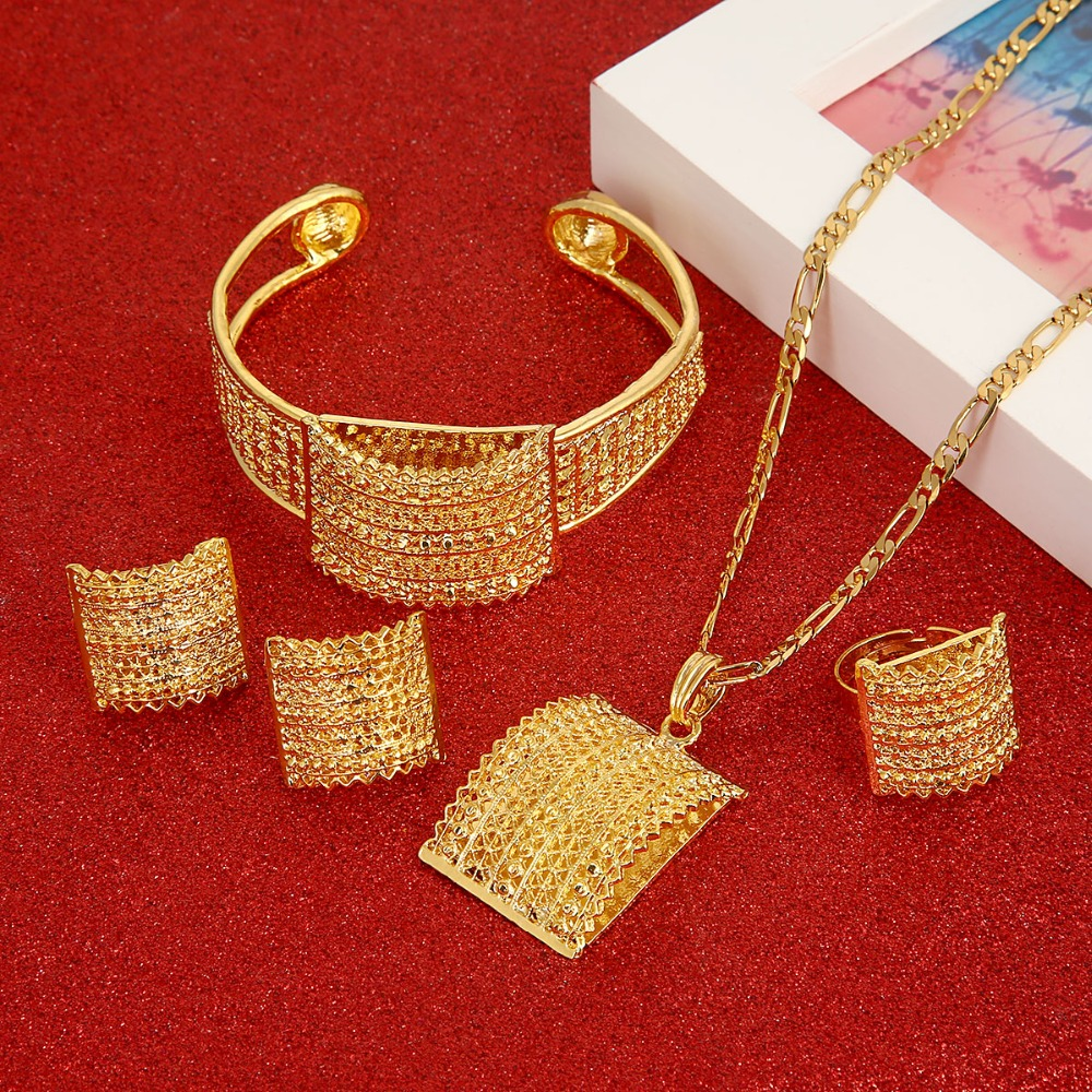 Ethiopian Jewelry Set Bride Wedding Pendant Necklace Bangle Earring Ring African Eritrea Habesha Sets