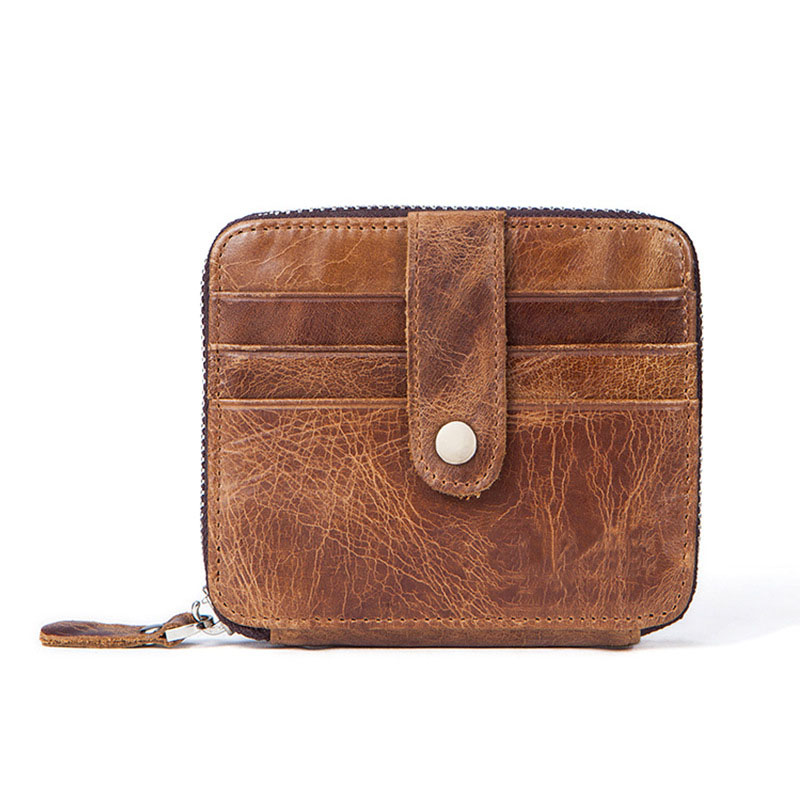 New brand men Coin Purse Genuine Leather Card package Short grain retro decorated square Card & ID Holders with natural lines