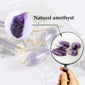 Image 4 - Wysokiej jakości metalowe przyrząd rolujący do masażu twarzy naturalny ametyst rolka jadeitowa odchudzanie przeciw zmarszczkom cellulitu urody kryształ kamienia narzędzia