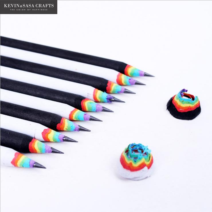 6Pcs/Set Pencil Hb Rainbow Color Pencil Stationery Items Drawing Supplies Cute Pencils For School Basswood Office School Cut(China)