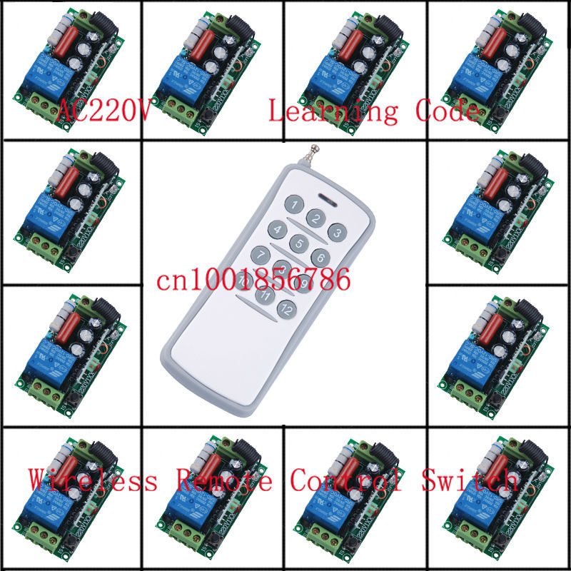 220V 1CH Radio Wireless Remote Control Switch light lamp LED ON OFF Learning Code Output Adjusted 220v 1ch radio wireless remote control switch light lamp led on off 12 receivers