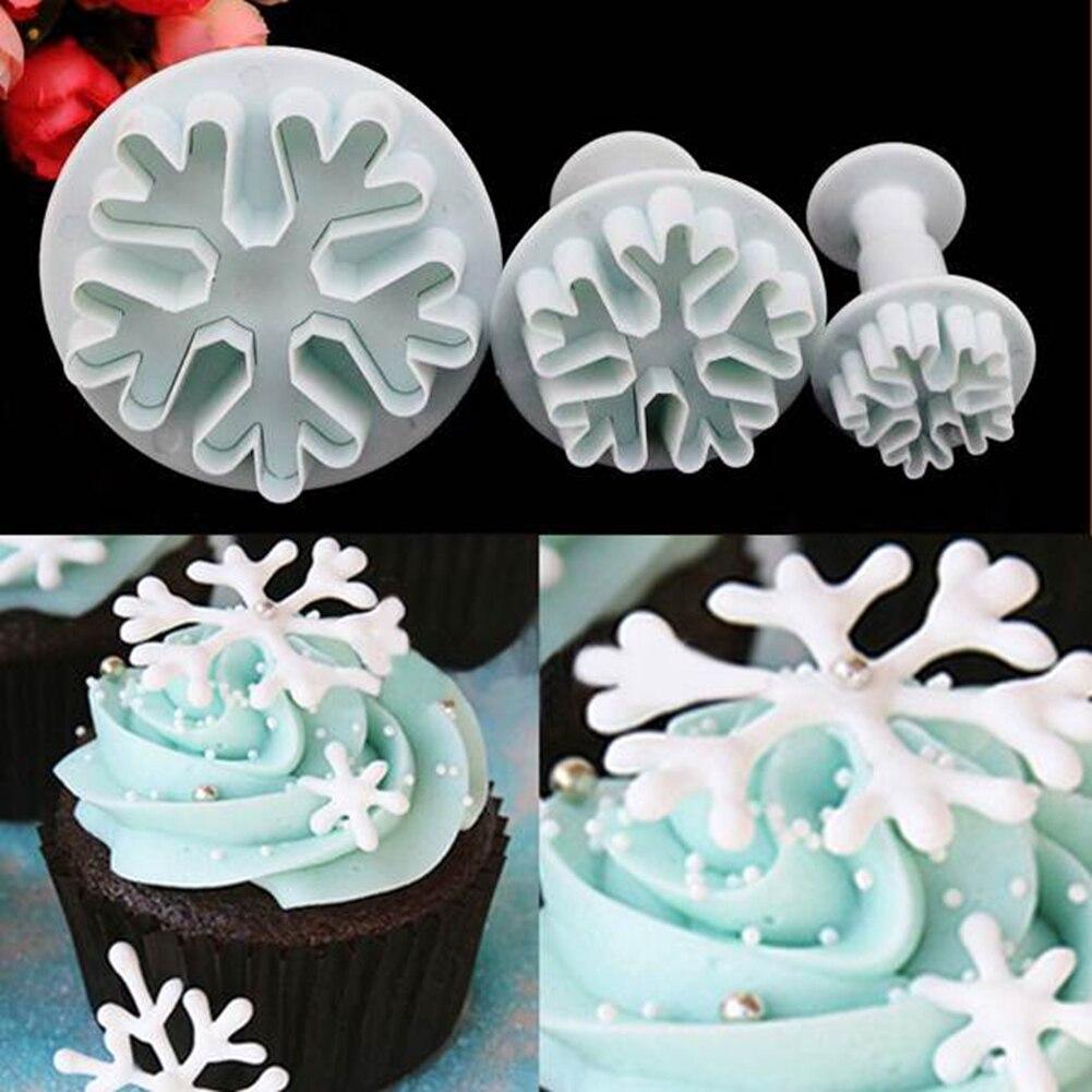 ᗑ】New 3x DIY Snowflake Plunger Cutter Mold Sugarcraft Fondant Cake ...