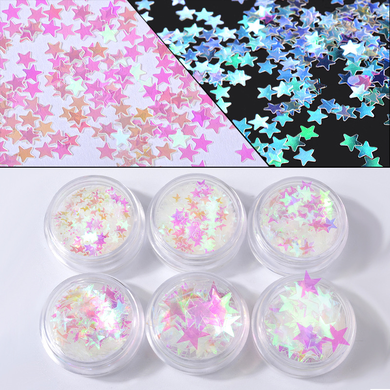 Beauty & Health 6box/bag Five-pointed Star Laser Rainbow Uv Nail Sequins Nail Art Powder Paillette Glitter 3d Nail Decoration Tips Set Kit 10-60 Pure White And Translucent Nail Glitter