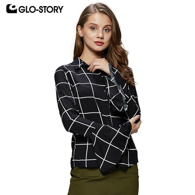0aa5af369c GLO-STORY kobiet elegancki długi Ruffles rękawem bluzka koszule damskie  2018 wiosna przycisk w dół Blusa topy WCS-6191