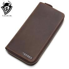 hot deal buy tauren genuine leather men zipper wallets vintage crazy horse leather men cow leather wallets man purse male casual clutch bag