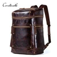 Crazy horse Натуральная кожа Мужская Рюкзак Водонепроницаемый Сумка для ноутбука Мужские Винтажные bagpack большая емкость рюкзаки мужские дорожн