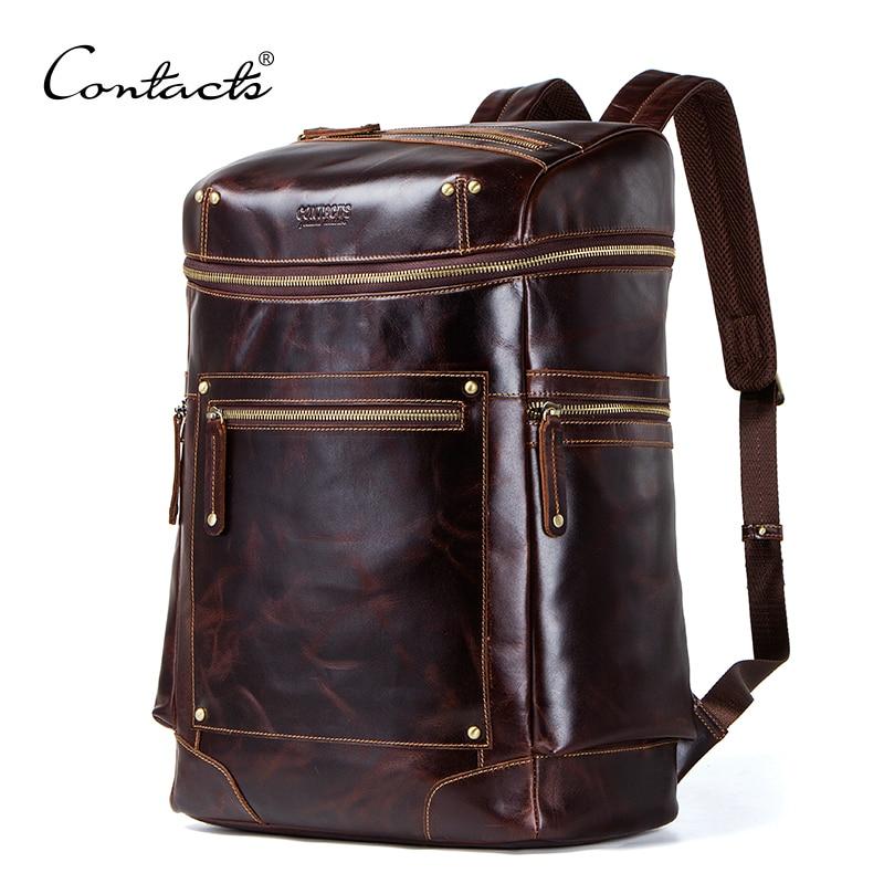 Crazy horse sac à dos en cuir véritable pour hommes sac étanche pour ordinateur portable pour hommes vintage sac à dos grande capacité sacs de voyage pour hommes