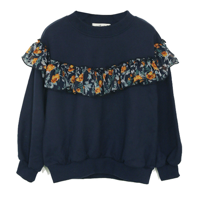 6 to 16 years kids & teenager girls floral print long sleeve ribbed hem casual sweatshirt children fall winter crew neck tops