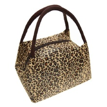 Leopard Makeup Cosmetic Bag with Handles, Cute Make Up Cololful Patterns Portable Waterproof Oxford Handbag