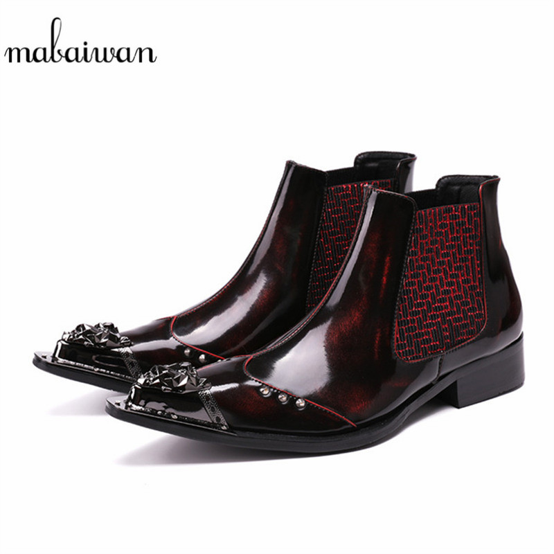 Mabaiwan Handmade Rivets Men Shoes Snow Ankle Boots Metal Pointed Toe Leather Wedding Shoes Men's Flats Military Chelsea Boots red men wedding dress shoes pointed toe ankle boots genuine leather botas hombre cowboy military boots metal decor men flats