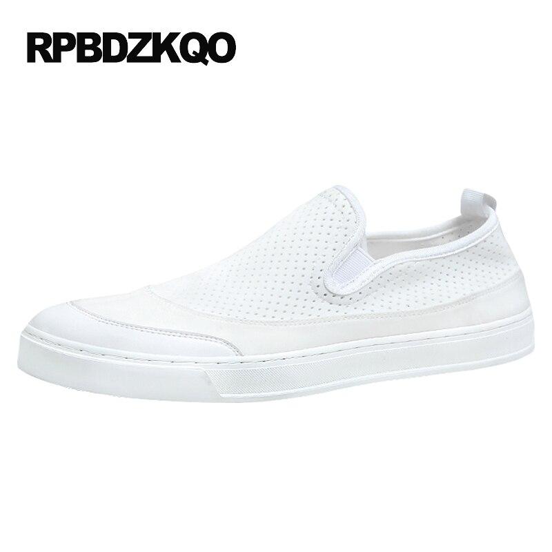 Élégant Patchwork Casual Confort Blanc Hommes Mesh Slip On Chaussures Skate Toile D'été Respirant 2017 Plate-Forme Populaire Vente Chaude