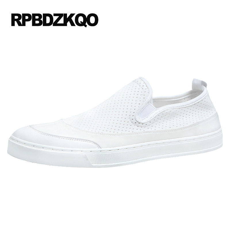 Stylish Patchwork Casual Comfort White Men Mesh Slip On Shoes Skate Canvas Summer Breathable 2017 Platform Popular Hot Sale
