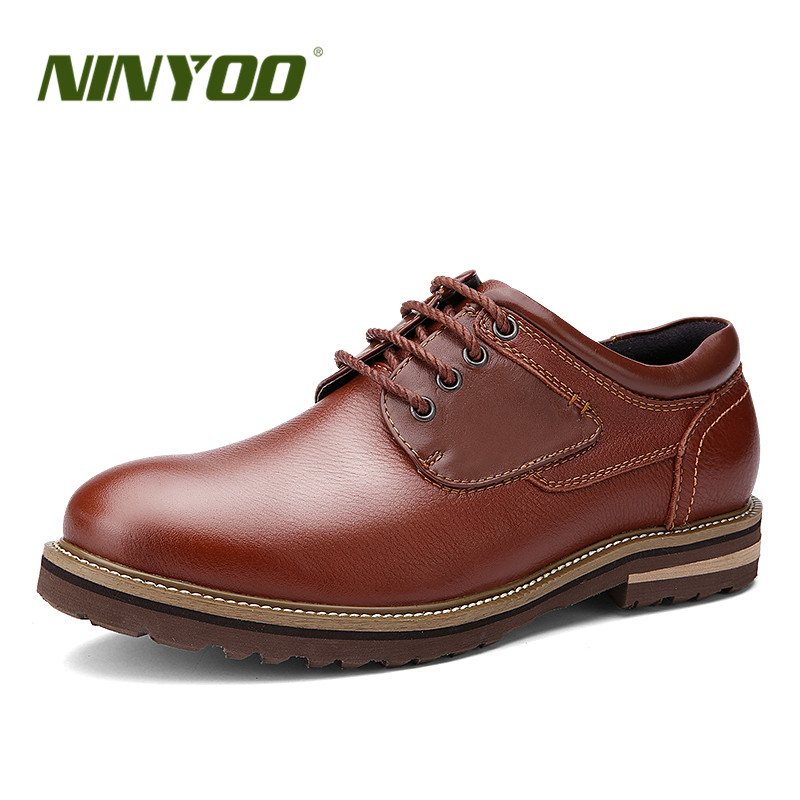 NINYOO Autumn Flat Pointed Toe Dress Men Genuine Leather Shoes 36 37 Business Flats EVA Rubber Casual Shoes Plus Size47 48 49 50