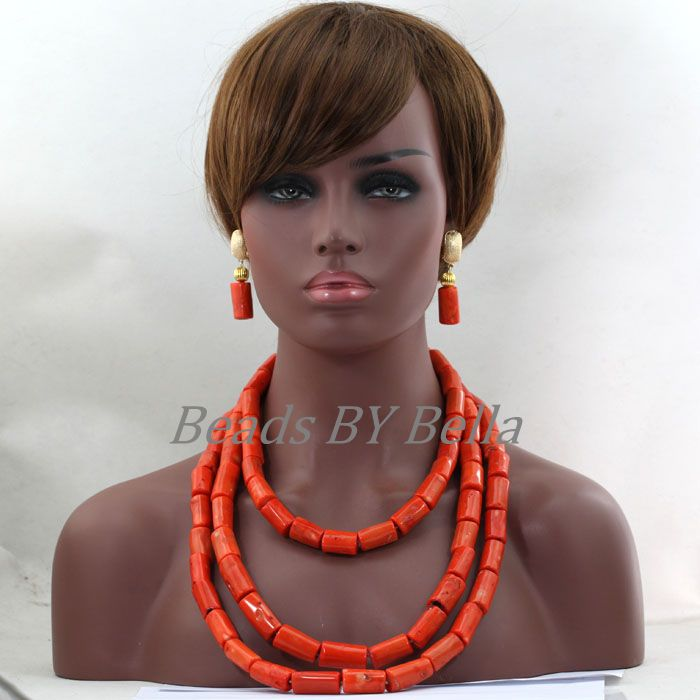 Chunky African Coral Beads Jewelry Set for Women Orange Pink Nigerian Wedding Bridal Necklace Jewellery Set Free Shipping ABL359Chunky African Coral Beads Jewelry Set for Women Orange Pink Nigerian Wedding Bridal Necklace Jewellery Set Free Shipping ABL359