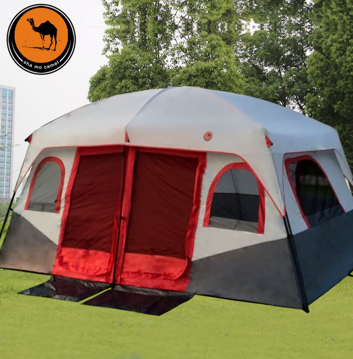 Ultralarge 6-10 person double layer two bedroom party family beach tourist camping tent alltel high quality double layer ultralarge 4 8person family party gardon beach camping tent gazebo sun shelter