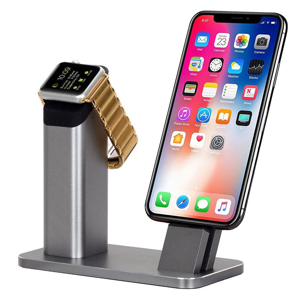 2018 plus récent support de support en Aluminium charge Dock chargeur Station de montage Base pour Apple Watch iPhone X/8/7/7 PLUS/SE/5 s/6 S/plus