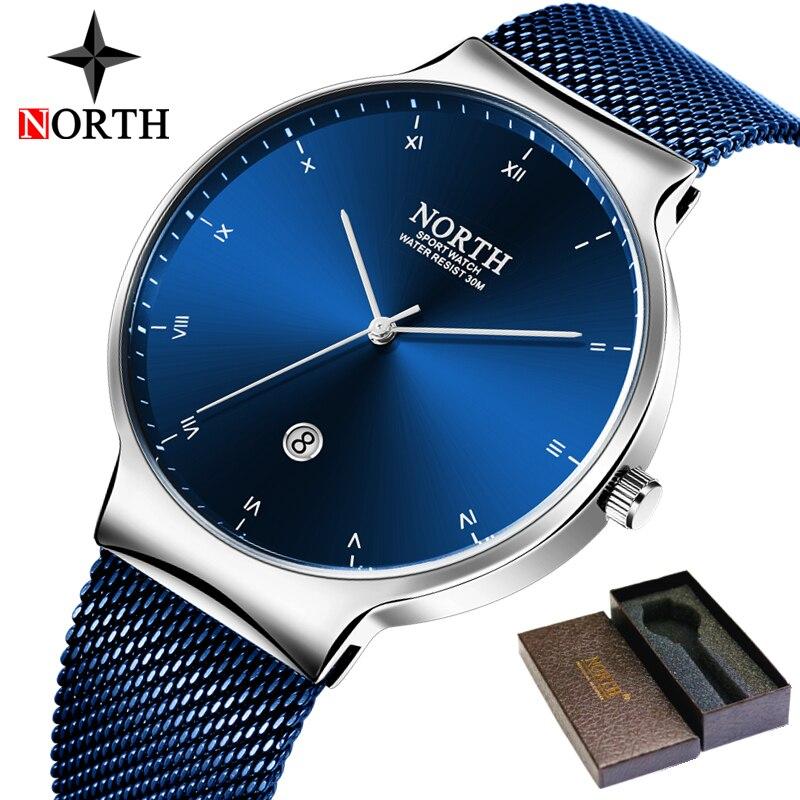 NORTH Mens Watches Top Brand Luxury Business Quartz Watch Men Fashion Slim Mesh Steel Waterproof Sport Watch Relogio Masculino цена