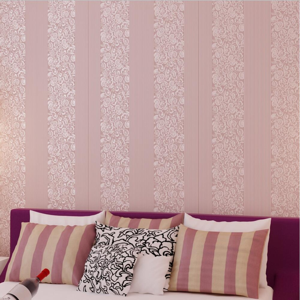 Butterfly and flower striped pink floral wallpaper for for Pink and white wallpaper for a bedroom