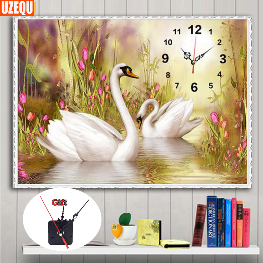 UzeQu Full Diamond Broderi Väggklocka 5D DIY Diamantmålning Korsstygn Swan Lovers Watch 3D Mosaic Painting Rhinestones