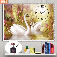 UzeQu Full Diamond Embroidery Wall Clock 5D DIY Diamond Painting Cross Stitch Swan Lovers Watch 3D Mosaic Painting Rhinestones