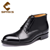 Sipriks Italian Handmade Black Ankle Boots Mens Brown Genuine Leather Boots Indian Work Boots Elegant Grooms Wedding Boots 2017