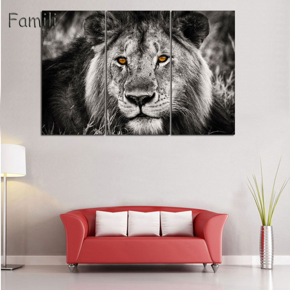 3 Piece Animals Lion Canvas Painting modern Hanging Art Lion King ...