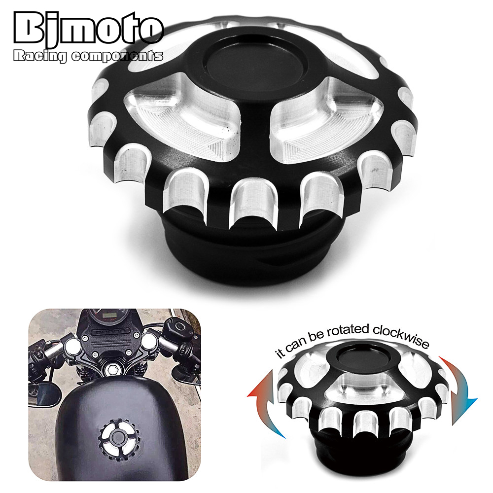 Motorcycle Aluminum Burst Fuel Tank Cap Door Cover For Harley Sportster XL 883 1200 Road Kings Softail FXD