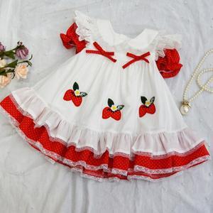 Image 4 - Sommer Mädchen Rot Spitze Erdbeere Blume Prinzessin Kleid Vintage Spanisch Kleid Lolita Party Kleid für Mädchen Baumwolle Casual Kleid