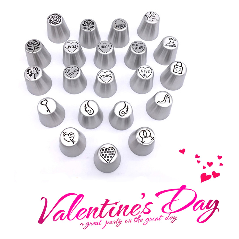 Wholesale 10 Sets 21 Pcs set 2018 Valentine s Day Russian Tulip Icing Piping Nozzles Fondant