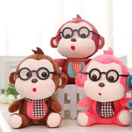 20cm Mini Monkey Plush Toys for Kids Small Pendant Car Decoration glasses tie monkey birthday gift