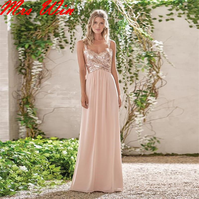 2017 rose gold bridesmaid dresses a line spaghetti straps for Wedding dresses with roses on them
