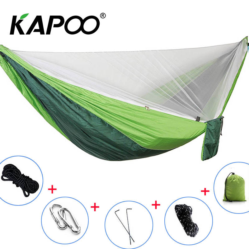 Portable Double Hammock Double Mosquito Net Hammock Outdoor Furniture Camping Hammock Picnic Mat Garden Swing Chair Soft Bed portable double mosquito net hammock double parachute hammock outdoor furniture camping hammock picnic mat outdoor hammock