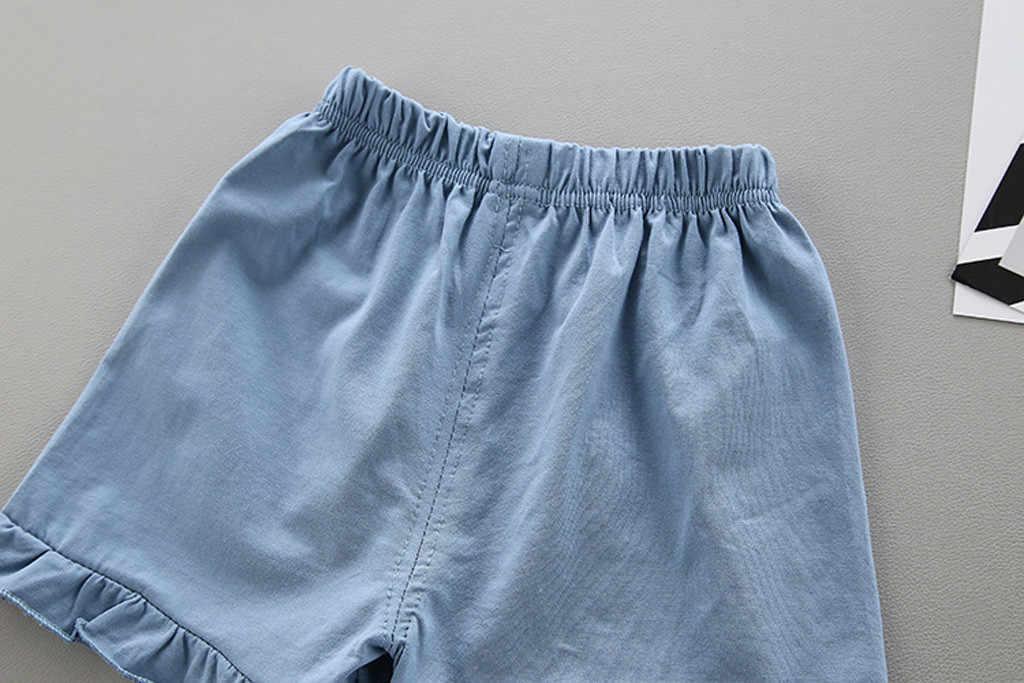 Conjunto de ropa para niñas pequeñas, verano 2019, camiseta con lazo de encaje para bebés, pantalones cortos con volantes, Ropa para Niñas de 1, 2, 3, 4 y 5 años