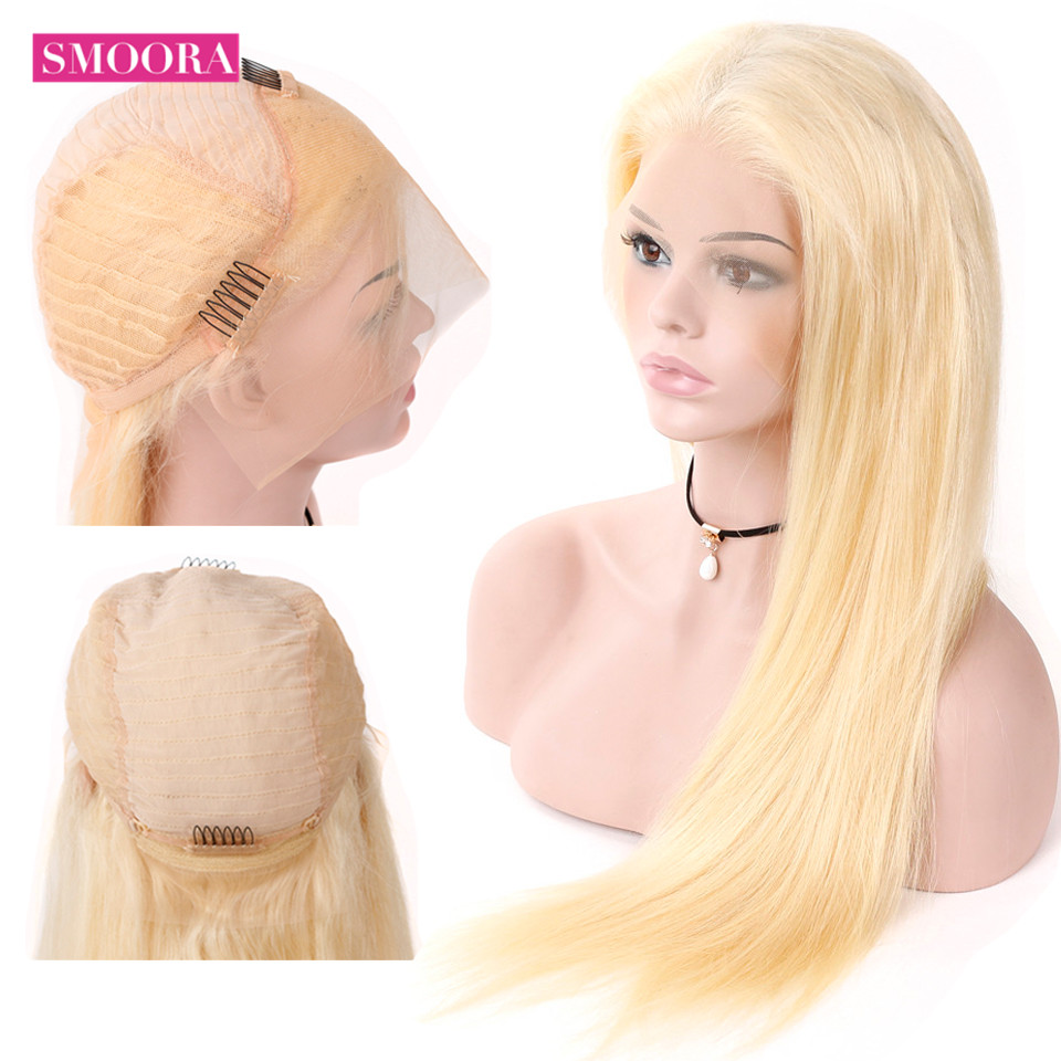 Smoora Full Blonde 613# Color Brazilian Remy Human Hair Lace Frontal Wigs Density 130% Straight 613 Golden Blonde Lace Front Wig