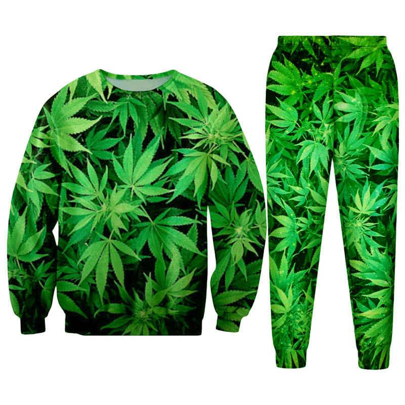 Casual streetwear moletom e calças feuille verde folha de cânhamo erva daninha 3d crewneck hoodie pullovers treino masculino/feminino