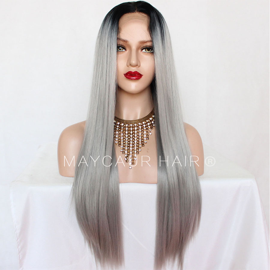 _0004_Maycaur 180 Density Gray Natural Straight  Synthetic Lace Front Wigs Black Grey Color Hair Natural Hairline (2)