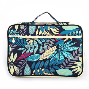 Image 2 - Chinese style Multi functional A4 Document bags Embroidery Waterproof Oxford Cloth Storage bag For Notebooks Pens iPad Computer