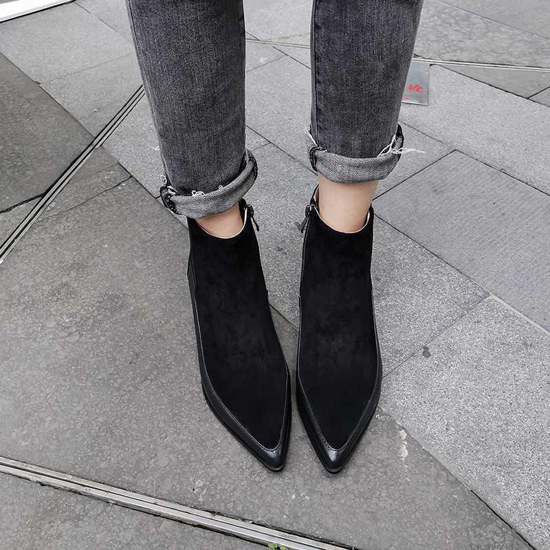INS hot vrouwen enkellaarsjes Echt Leer 22-24.5 cm meter lengte enkellaars voor vrouwen Leer stiksels online celebrity Chelsea laarzen Leer fluwelen