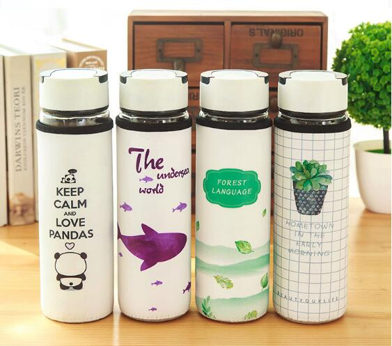 1PC New Cute Glass Water Bottle for Water Coffee Tea Milk Case Travel Kettle Drinking Kettle with PU Sleeve Home Office NX 009