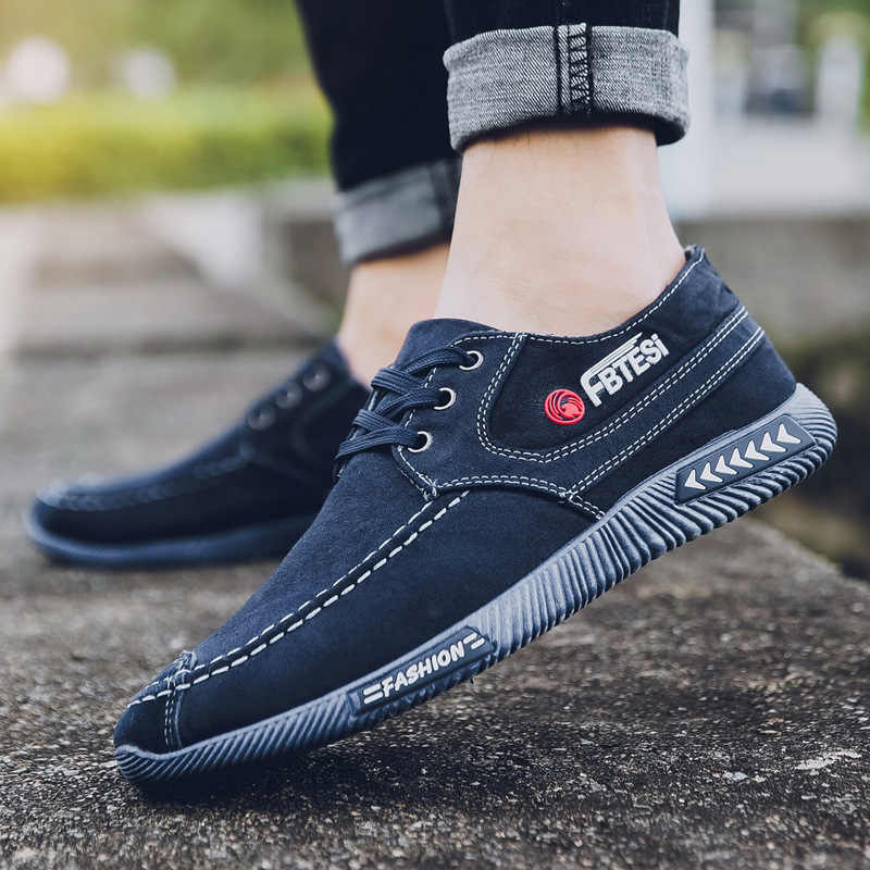 2019  Fash Denim Men Canvas Shoes Male Summer Sneakers Slip On Casual Breathable Shoes Loafers Chaussure Homme Zapatos De Hombre