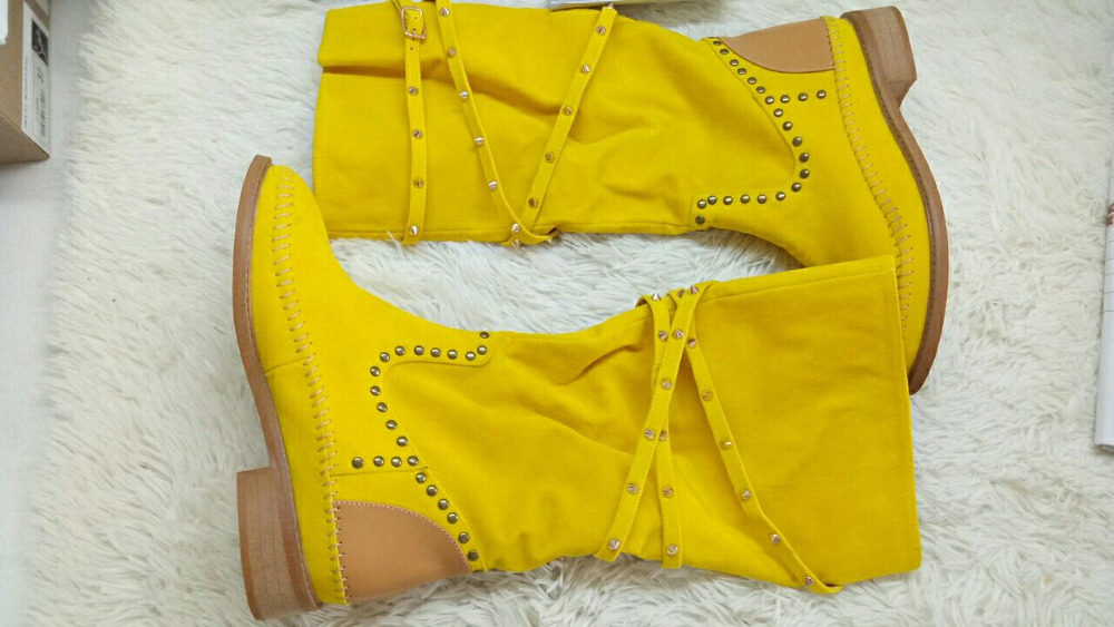 Top Fashion Rivets Studded Knee High Suede Leather Winter Boots Round Toe Flat Heel Woman Shoes High Quality Hottest Boots