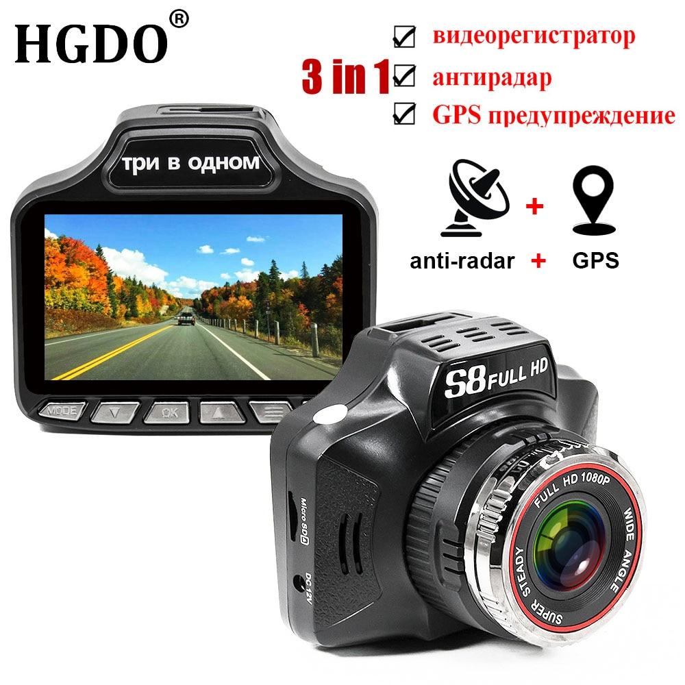 цена на HGDO Russian Radar Detector 3 in 1 Voice Car DVR GPS HD 1080P Fixed and flow velocity Speed Radar detect G-sensor Dash Cam