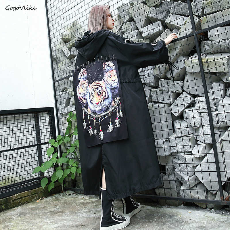2019 New Spring Tiger Patch   Trench   Coat Hooded Straps Women Black Long Casual Design Ribbons Windbreaker Pins Plus size LT644S50