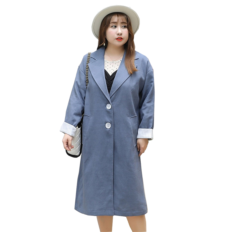 Large size   Trench   Coat Women 2019 Spring Autumn Long Windbreaker Single-breasted Female Loose Casual Tops   Trench   Plus size 4XL