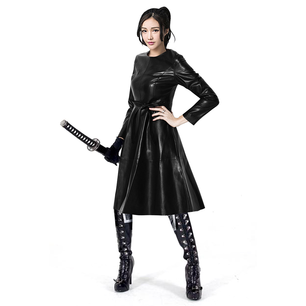 Womens Faux Leather Fashion Midi Bodycon Black A-Line Dress With Belted Fashion Dresses For Women Clothing Long Sleeve Dress plaid long sleeve belted midi dress
